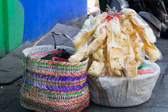 Krupuk in plastic bags. Plastic bagsd full of krupuk displayed in a street somewhere in indonesia Stock Photography