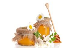 Krus av honung med blommor av akacian och kamomillen som isoleras på vit bakgrund Arkivfoto