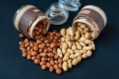 Krus av jordnötter och hasselnötter som läggas ut i Arkivbilder