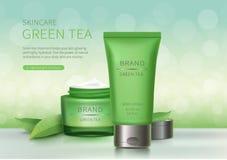 Krus för grönt exponeringsglas och plast- rör royaltyfri illustrationer