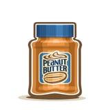 Krus för smör för vektorlogojordnöt med etiketten royaltyfri illustrationer