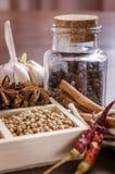 Krus och ram av kryddor Arkivfoton