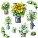 Krus och vaser med buketter i lantlig stil Royaltyfri Fotografi