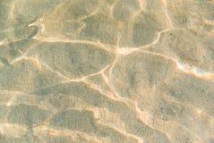 Kräuselung des seichten Wassers auf goldener Sandbeschaffenheit der Strandunterseite Stockfotos
