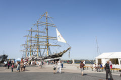Krusenstern ship at harbor in Tallinn, Estonia Stock Photos