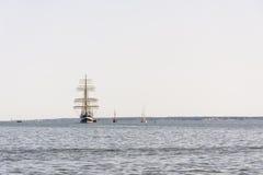 Krusenstern statek przyjeżdża Tallinn Morscy dni Fotografia Royalty Free