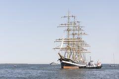 Krusenstern statek przyjeżdża Tallinn Morscy dni Zdjęcie Stock