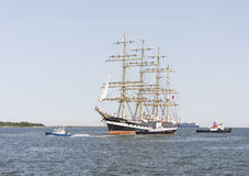 Krusenstern statek przyjeżdża Tallinn Morscy dni Zdjęcia Stock