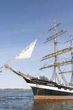 Krusenstern statek przyjeżdża Tallinn Morscy dni Zdjęcie Royalty Free