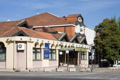 The restaurant and hotel `Novi palas` in Krusevac. Krusevac is a city and the administrative center of the Rasina District, in Serbia royalty free stock images