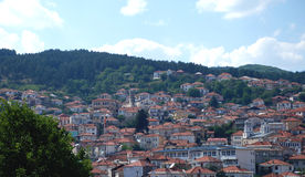 Krusevo,城市全景在Vestern马其顿 库存照片