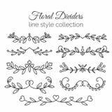 krusidullar Hand dragen avdelaruppsättning Linje stilgarnering stock illustrationer