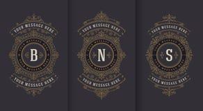 Krusidullar och dekorativ vektortappningdesign för hälsningkort eller bröllopinbjudan stock illustrationer