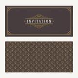 Krusidullar och dekorativ vektortappningdesign för inbjudan- eller hälsningkort stock illustrationer
