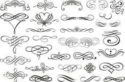 Krusidullgränshörn och rambeståndsdelsamling Vektorkortinbjudan Calligraphic viktoriansk Grunge bröllop vektor illustrationer