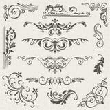 Krusidullgränshörn och rambeståndsdelsamling Vektorkortinbjudan Calligraphic viktoriansk Grunge bröllop Royaltyfri Fotografi