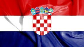 Krusig vinkande flagga av Kroatien Arkivfoton