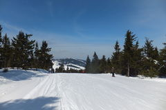 Krusne hory mountains, Czech republic. Snowy czech mountains, long slope for skiing Stock Photos