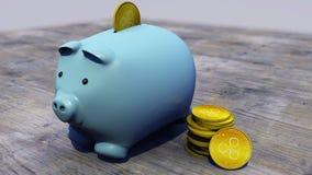 Krusning xrp, cryptocurrency, e-pengar, faktisk valuta, övergångar Spargris spädgris, besparingar Arkivbilder