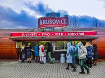 Krusovice, Cszech republika - Styczeń 01, 2018: Krusovice piwa znak nad pamiątkarskiego sklepu wejście Zdjęcia Stock