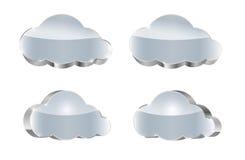 Kruszcowa chmura ustawiająca: glansowane ikony Fotografia Royalty Free