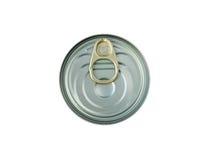 Kruszcowa puszka z kluczowym otwieraczem odizolowywającym na bielu Obrazy Stock