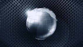 Kruszcowa ziemska sfera z drucianym ogrodzeniem 3d srebra ziemia CG p?tli animacja ilustracja wektor