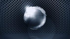Kruszcowa ziemska sfera z drucianym ogrodzeniem 3d srebra ziemia CG p?tli animacja ilustracji