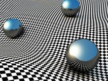 Kruszcowe sfery Na Checker powierzchni abstrakcyjny tło Fotografia Stock
