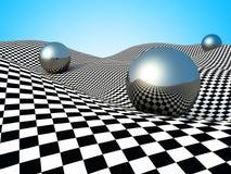 Kruszcowe sfery Na Checker powierzchni abstrakcyjny tło Zdjęcia Stock