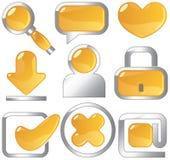 kruszcowe złociste ikony Ilustracji