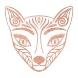 Kruszcowej tatuaż róży złocistej folii tekstury lisa twarzy Ozdobna maska, Japońska mitologiczna istota Kitsune, Dekoracyjny tote ilustracji