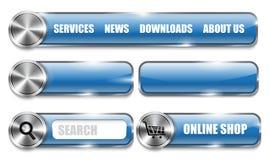 Kruszcowi i glansowani strona internetowa projekta błękita elementy ilustracja wektor