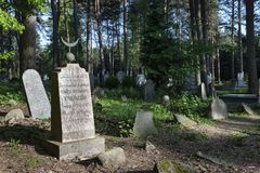 The Tatar Muslim Cemetery named Mizar in Kruszyniany,. KRUSZYNIANY, POLAND - MAY 03, 2018: The Tatar Muslim Cemetery named Mizar in Kruszyniany, Podlaskie Royalty Free Stock Photography