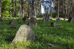 The Tatar Muslim Cemetery named Mizar in Kruszyniany. KRUSZYNIANY, POLAND - MAY 03, 2018: The Tatar Muslim Cemetery named Mizar in Kruszyniany, Podlaskie Stock Image