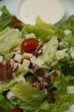 Krutonger för Caesar sallad, bacon, parmesanost och Caesar dres Arkivfoton