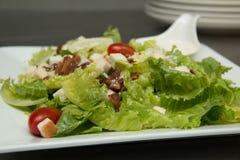 Krutonger för Caesar sallad, bacon, parmesanost och Caesar dres Royaltyfri Foto