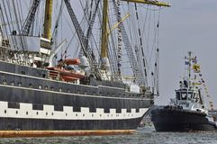 The Kruzenshtern with its escort Stock Image