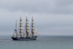 The Kruzenshtern. Or Krusenstern (Russian: Барк Крузенштерн) is a four-masted barque and tall ship that was built in 1926 at Geestemünde in Stock Images