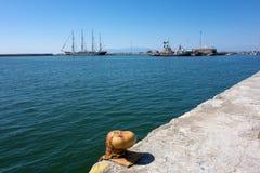 Kruzenshtern. Large four masts windjammer Kruzenshtern at the port of Alexandroupolis - Greece Royalty Free Stock Photos