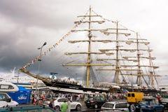 Kruzenshtern ship in Tallinn. The Kruzenshtern or Krusenstern ship in Tallinn at Tallinn Maritime Days on July 16, 2011. After 20 years Krusenstern returned to Royalty Free Stock Images
