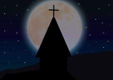 Kruzifix auf dem Kirchendach Die Schönheit des Mondes, Vektorillustrationen Stockbild