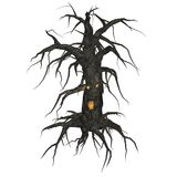 KRW Creepy Tree. Spooky tree with glowing face Vector Illustration