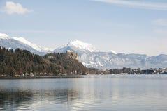 Krwawiący kasztel nad jezioro, Slovenia Obraz Royalty Free