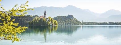 krwawiąca jeziorna panorama Slovenia Zdjęcia Royalty Free