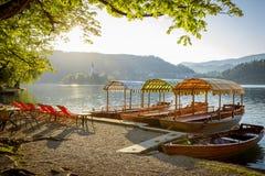 krwawiąca jeziorna panorama Slovenia Obraz Royalty Free