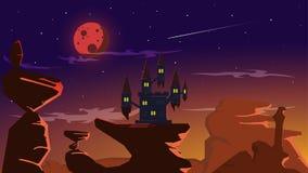 Krwionośny księżyc w pełni zaćmienia kasztel na wielkiej skale ilustracja wektor