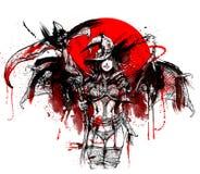 Krwionośna czarownica z kosą ilustracji