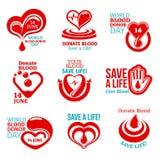 Krwionośnego dawcy dnia ikona dla zdrowie dobroczynności projekta Fotografia Royalty Free