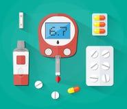 Krwionośnej glikozy test, pasek i pigułki, cukrzyce ustawiać ilustracja wektor